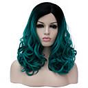 preiswerte LED Leuchtbänder-Synthetische Perücken Damen Grün Synthetische Haare Grün Perücke Mittlerer Länge Kappenlos Grün