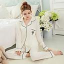 billige Syntetiske parykker uten hette-Dame Bomull Skjortekrage Sateng og silke Pyjamas - Ensfarget