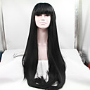 cheap Synthetic Capless Wigs-Synthetic Lace Front Wig Straight With Bangs Synthetic Hair Black Wig Women's Lace Front Wig