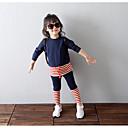 abordables Conjuntos de Ropa para Niña-Conjunto de Ropa Chica Diario A Rayas Algodón Manga 3/4 Primavera Otoño Rayas Azul Marino