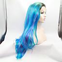 preiswerte Hundekleidung-Synthetische Lace Front Perücken Natürlich gewellt Ombre Synthetische Haare Ombre Perücke Damen Spitzenfront Blau