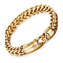 cheap Men's Bracelets-Men's Wheat Chain Bracelet - 18K Gold Plated, Stainless Steel, Titanium Steel Luxury, Fashion, Hip-Hop Bracelet Silver / Golden For Party / Gift / Daily