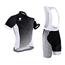 cheap Cycling Jersey & Shorts / Pants Sets-Men's Short Sleeve Cycling Jersey with Bib Shorts - Black / White Bike Clothing Suit, 3D Pad, Quick Dry, Anatomic Design Coolmax®, Silicon, Lycra / Breathable / Stretchy / Ultraviolet Resistant