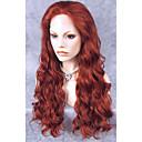 billige Kostumeparyk-Syntetisk Lace Front Parykker Bølget Syntetisk hår Rød Paryk Dame Lang Blonde Front
