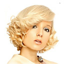 זול שיש מסלולים-פאות סינתטיות גלי בלונד עם פוני שיער סינטטי חלק צד בלונד פאה בגדי ריקוד נשים קצר בלונד מוזהב