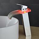 billige Syntetiske parykker uten hette-Baderom Sink Tappekran - Foss / LED Krom Centersat Enkelt Håndtak Et Hull / Messing