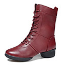 cheap Dance Boots-Women's Modern Shoes / Dance Boots Leather Boots / Split Sole Low Heel Non Customizable Dance Shoes Black / Red