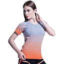 cheap Fitness, Running & Yoga Clothing-Women's Crew Neck Running Shirt - Orange, Rose Red, Green Sports Stripe, Sexy, Color Gradient Spandex Tee / T-shirt / Top Fitness, Gym, Workout Short Sleeve Activewear Quick Dry, Breathable, Smooth