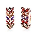 cheap Earrings-Women's Cubic Zirconia Hoop Earrings - Zircon, Rose Gold Plated Leaf, Flower Fashion Rainbow For Wedding / Party / Daily