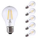 abordables Ampoules à Filament LED-GMY® 6pcs 4 W 550/400 lm E26 / E27 Ampoules à Filament LED A60(A19) 4 Perles LED COB Intensité Réglable Blanc Chaud / Blanc Froid 220-240 V / 6 pièces / RoHs