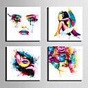cheap Stretched Canvas Prints-People Modern, Four Panels Canvas Square Print Wall Decor Home Decoration