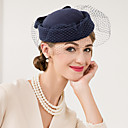 cheap Party Headpieces-Wool Net Fascinators Hats Headwear with Floral 1pc Wedding Special Occasion Casual Headpiece