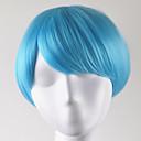 お買い得  人工毛キャップレスウィッグ-人工毛ウィッグ ストレート ボブスタイル・ヘアカット 合成 ブルー かつら 女性用 ショート キャップレス