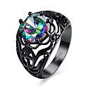 cheap Men's Rings-Women's Cubic Zirconia Band Ring - Zircon Flower Personalized, Fashion 6 / 7 / 8 Black For Party Engagement Daily