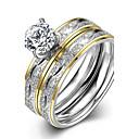 baratos Anéis-Mulheres Anel / Anel de noivado - Aço Inoxidável, Zircão, Chapeado Dourado Europeu, Fashion 6 / 7 / 8 Dourado Para Casamento / Festa / Diário