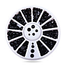 cheap Rhinestone & Decorations-1pcs black 3d nail rhinestone pearls nail tips sticker decoration wheel