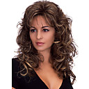 cheap Human Hair Capless Wigs-Synthetic Wig Body Wave Dark Brown With Bangs Dark Brown Synthetic Hair Women's Heat Resistant / Fluffy Dark Brown Wig Medium Length Capless