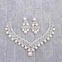 preiswerte Parykopfbedeckungen-Damen Imitierte Perlen / Strass Schmuck-Set - Einschließen Silber Für Hochzeit