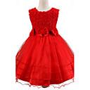preiswerte Wandleuchten-Mädchen Kleid Solide Sommer Ärmellos Zum Kleid Schleife Spitze Weiß Purpur Fuchsia Rot Rosa
