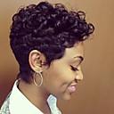 olcso Sapka nélküli-Emberi hajszelet nélküli parókák Emberi haj Hullámos Természetes hullám Pixie frizura Bretonnal Fekete hölgyeknek Afro-amerikai paróka