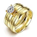 baratos Anéis-Mulheres Anel - Aço Inoxidável, Zircão Europeu, Dupla camada 6 / 7 / 8 Dourado Para Casamento / Festa / Diário