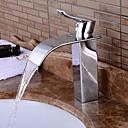 tanie Baterie łazienkowe-zlew kran zlewu łazienkowego - przed płukaniem / wodospadem / rozległy chromowany zestaw centrujący z jednym uchwytem z dwoma otworami w wannie