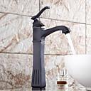 baratos Torneiras de Banheiro-Moderna Conjunto Central Separada Válvula Cerâmica Monocomando e Uma Abertura Bronze Polido a Óleo, Torneira pia do banheiro