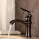 baratos Torneiras de Banheiro-Torneira pia do banheiro - Suporte de Chão Bronze Polido a Óleo Montagem em Plataforma Monocomando e Uma Abertura