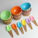 baratos Acessórios para gelo-plástico de sorvete taças colheres das crianças set durável copo de sorvete (cor aleatória)