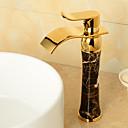 رخيصةأون حنفيات مغاسل الحمام-بالوعة الحمام الحنفية - شلال Ti-PVD في وسط التعامل مع واحد ثقب واحد / النحاس