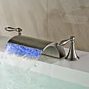 abordables Offres de la Semaine-Robinet lavabo - Jet pluie / Séparé / LED Nickel brossé Diffusion large Deux poignées trois trousBath Taps / Laiton