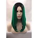cheap Hair Braids-Synthetic Lace Front Wig Straight Bob Haircut Synthetic Hair Middle Part Bob / Natural Hairline Green Wig Women's Lace Front