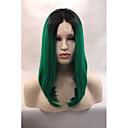 billige Fiskehjul-Syntetisk Lace Front Parykker Lige Bob frisure Syntetisk hår Bob med midterskilning / Natural Hairline Grøn Paryk Dame Blonde Front