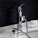 tanie Baterie łazienkowe-Bateria do umywalki łazienkowej - Deszczownica Chrom Umieszczona centralnie Jeden uchwyt Jeden otwór / Mosiądz