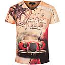 abordables lip stain-Hombre Boho Deportes Estampado - Algodón Camiseta, Escote en Pico Letra / Manga Corta