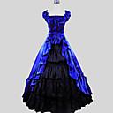 baratos Fantasias do Mundo Antigo-Vitoriano Ocasiões Especiais Mulheres Vestidos / Saia Azul Vintage Cosplay Charmeuse / Algodão Manga Curta Concha Até o Tornozelo