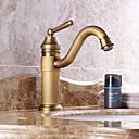 billige Baderomskraner-Baderom Sink Tappekran - Forskyll / Foss / Utbredt Antikk Kobber Udspredt Enkelt håndtak To Huller