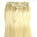 billige Clip in hårforlængelser-Clips på Menneskehår Extensions Lige Hårforlængelse af menneskehår Menneskehår Dame