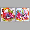 billige Oljemalerier-Hang malte oljemaleri Håndmalte - Blomstret / Botanisk Klassisk / Europeisk Stil Inkluder indre ramme / Stretched Canvas