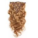 cheap Tape in Hair Extensions-Clip In Human Hair Extensions Body Wave Human Hair Extensions Virgin Human Hair Women's - Strawberry Blonde Dark Wine Chestnut Brown / Bleach Blonde
