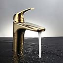 halpa Hiuspunokset-Nykyaikainen Pöytäasennus Termostaatti Keraaminen venttiili Yksi kahva yksi reikä Ti-PVD, Kylpyhuone Sink hana