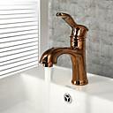 billige Dusjforheng-Baderom Sink Tappekran - Utbredt Antikk Kobber Centersat Enkelt Håndtak Et HullBath Taps / Messing