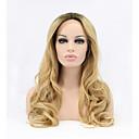 billige Syntetiske parykker med blonde-Syntetisk blonder foran parykker Bølget Blond Syntetisk hår Naturlig hårlinje Blond Parykk Dame Blonde Forside
