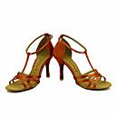 abordables Zapatos de Baile Latino-Mujer Zapatos de Baile Latino / Zapatos de Salsa Satén / Seda Sandalia / Tacones Alto Hebilla / Corbata de Lazo Tacón Personalizado Personalizables Zapatos de baile Bronce / Almendra / Nudo / Cuero