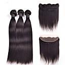 billige Hairextension med naturlig farge-4 pakker Peruviansk hår Rett Menneskehår Vevet Hårvever med menneskehår Hairextensions med menneskehår