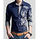 povoljno OBD-Veći konfekcijski brojevi Majica Muškarci - Vintage Dnevno Geometrijski oblici / Etno Klasični ovratnik Slim, Print Crvena / Dugih rukava / Proljeće / Jesen