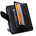 cheap Wallets-Men's Bags Cowhide Card & ID Holder / Zipper Solid Colored Black