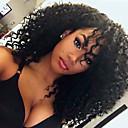 abordables Pelucas Sintéticas con Agarre-Peluca Lace Front Sintéticas Kinky Curly Pelo sintético Entradas Naturales Negro Peluca Mujer Media Encaje Frontal