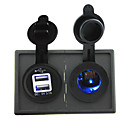 cheap Automotive Switches-12V/24V Cigarette lighter led Power socket and 3.1A dual USB port with housing holder panel for car boat truck RV