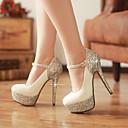 preiswerte Damen Heels-Damen Schuhe Lackleder Glanz Frühling Sommer High Heels Stöckelabsatz Runde Zehe Paillette für Hochzeit Kleid Party & Festivität Weiß